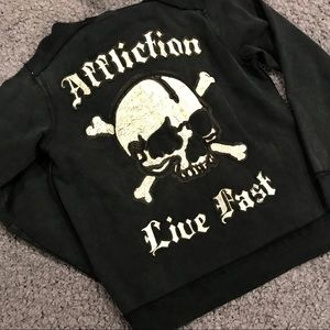 Affliction RARE Limited Leather Skull Hoodie, M